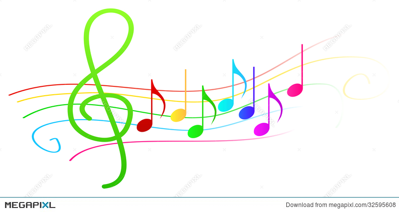 colorful musical notes on stave illustration 32595608 megapixl rh megapixl com Colorful Music Note Designs Colorful Music Notes On Staff