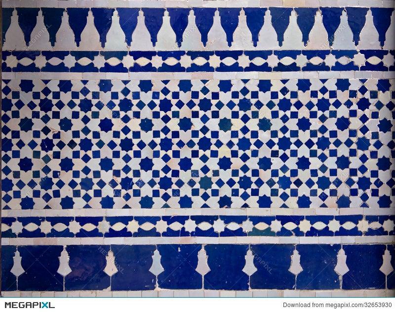 Moroccan zellige tile pattern stock photo megapixl