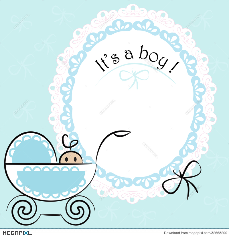 Baby Card Its A Boy Theme Illustration 32668200 Megapixl Boy And Template Free