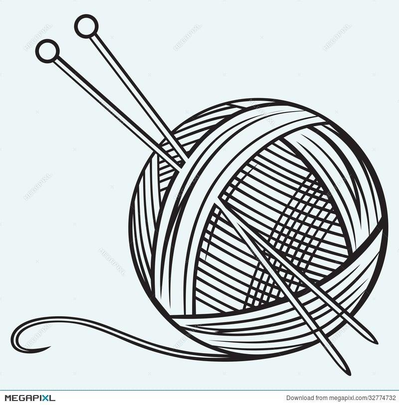 Knitting Needles And Yarn Clipart : Ball clipart knit yarn and knitting needles clip art