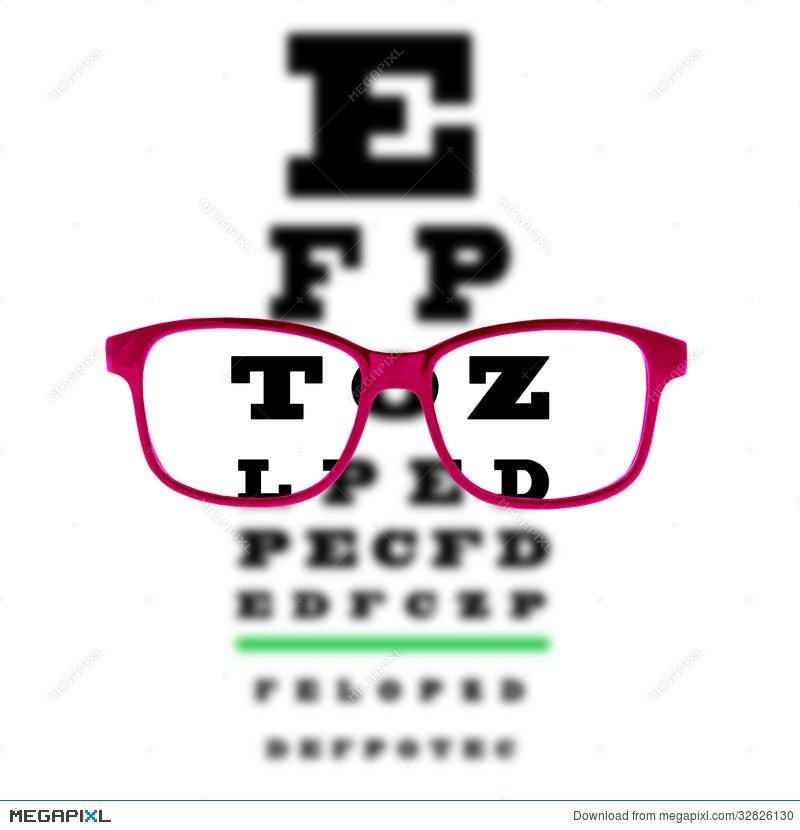Eye Vision Test Chart Seen Through Eye Glasses White Background