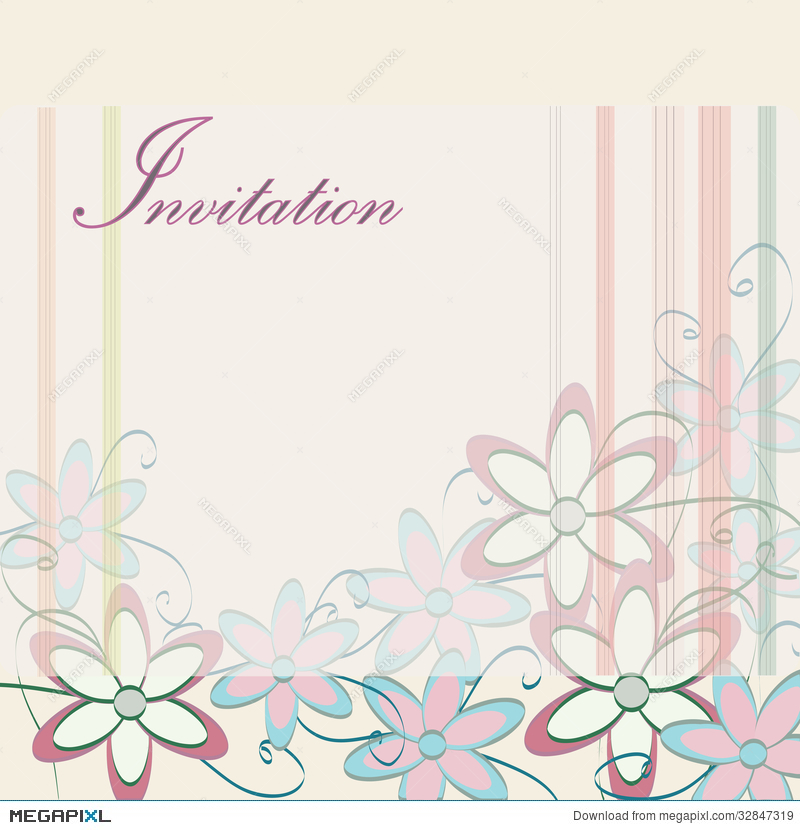 Wedding Invitation Template. Party Card Design With Flowers ...