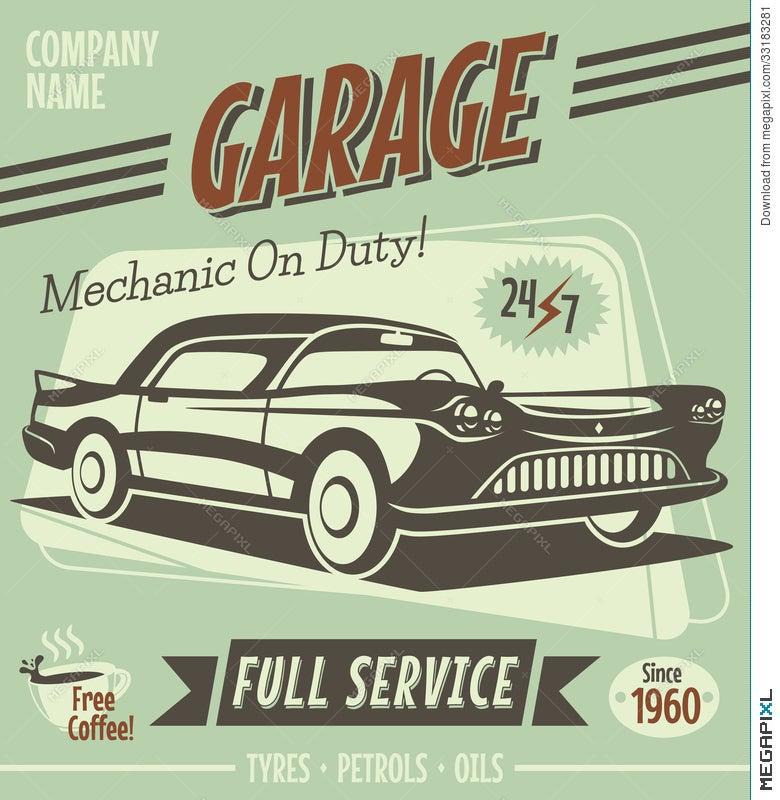 Retro Car Service Sign Illustration 33183281 - Megapixl