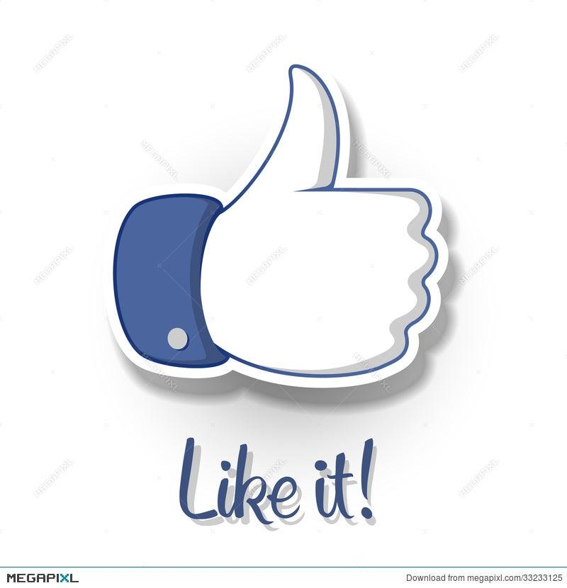Likethumbs Up Symbol Icon On White Background Illustration 33233125
