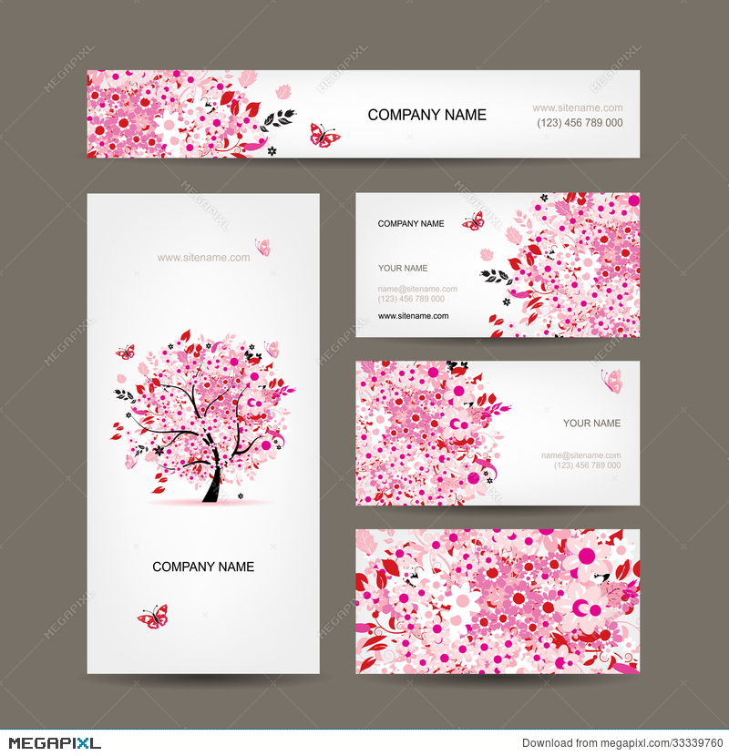 Business Cards Design With Floral Tree Pink Illustration 33339760 ...