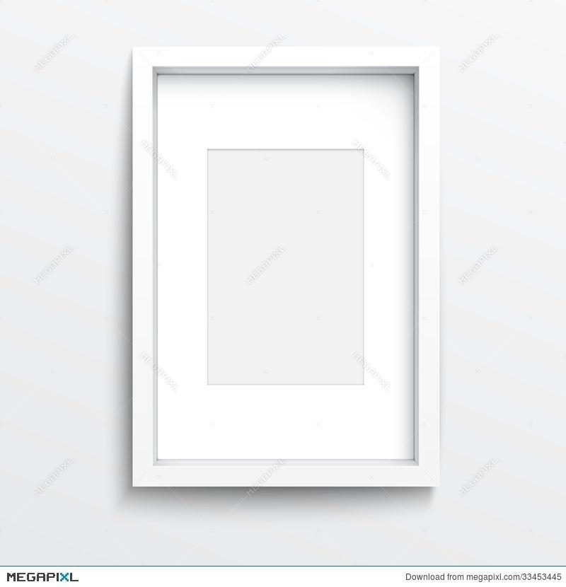 White Vertical Frame On Gray Wall. Illustration 33453445 - Megapixl