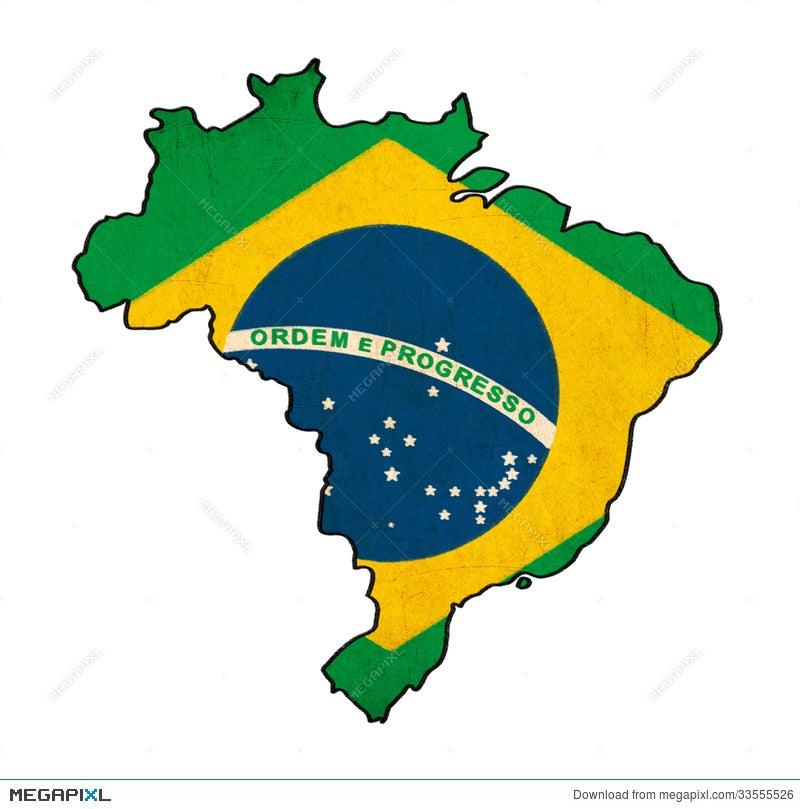 Brazil Map On Brazil Flag Drawing Illustration Megapixl - Brazil map illustration