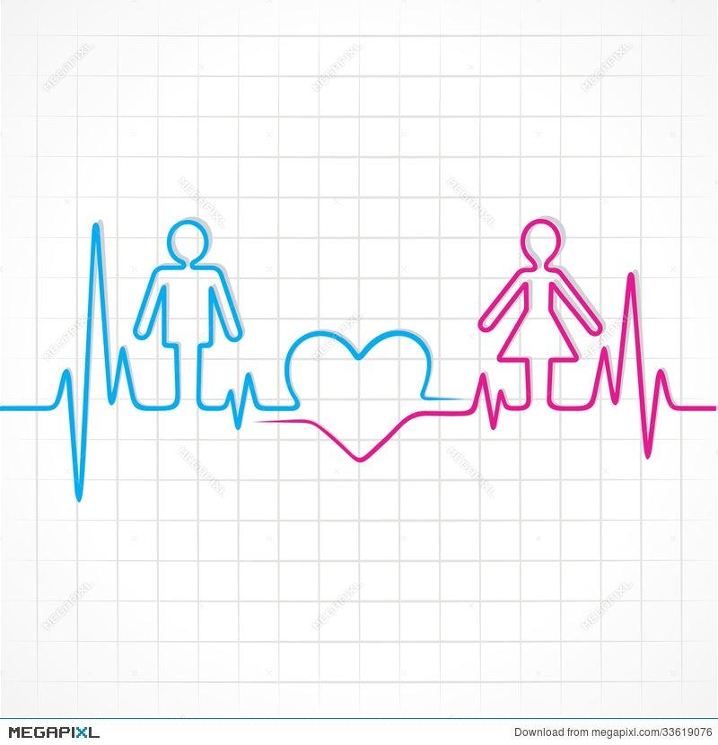 Heartbeat Make Malefemale And Heart Symbol Illustration 33619076