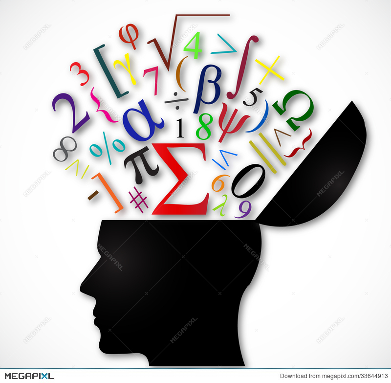 Human Head Open With Color Mathematical Symbols Illustration