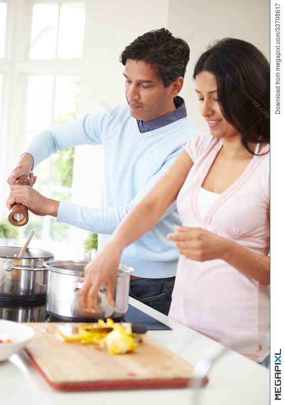 Indian Couple Cooking Meal At Home Stock Photo 33708617 Megapixl