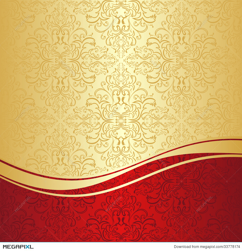 Luxury Ornamental Background Gold And Red Illustration 33778174