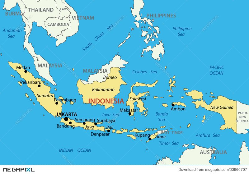 Republic Of Indonesia Vector Map Illustration 33860707 Megapixl