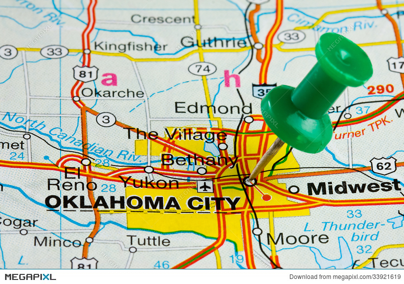 Pushpin In Oklahoma City Map Stock Photo 33921619 Megapixl