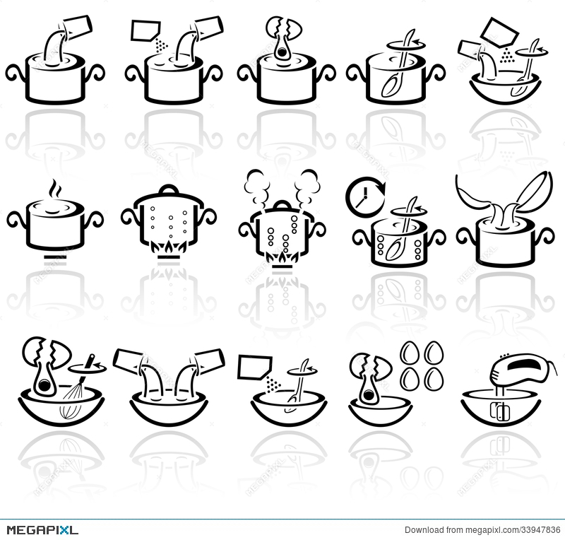 Cooking Instruction Vector Icons Set Eps 10 Illustration 33947836