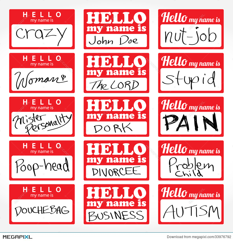Hello My Name Is Nametags Illustration Megapixl - Hello my name is tag template