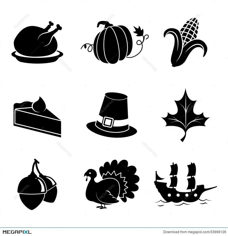 Thanksgiving Icons Illustration 33999126 Megapixl