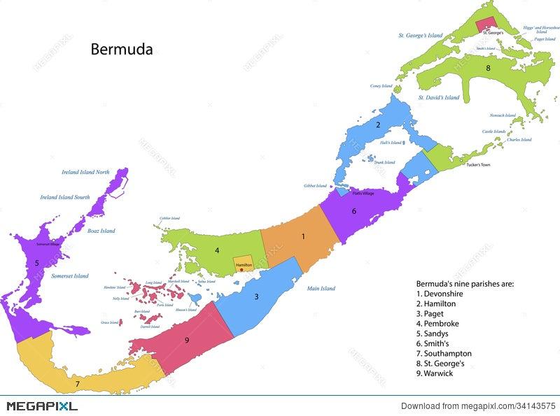 Bermuda Map Illustration 34143575 - Megapixl