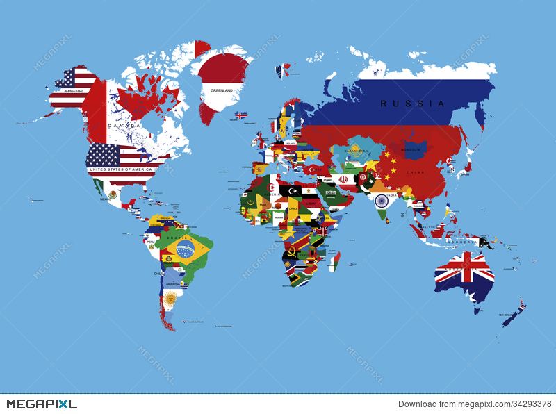 World map colored in countries flags names illustration 34293378 world map colored in countries flags names gumiabroncs Image collections