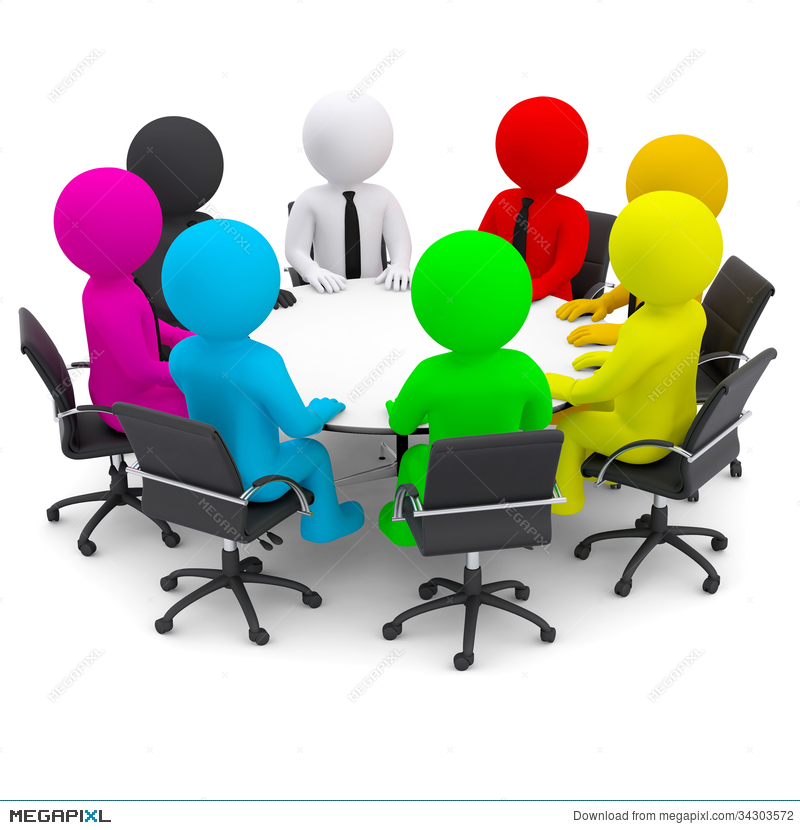 Multicolored People Sitting At A Round Table Illustration 34303572