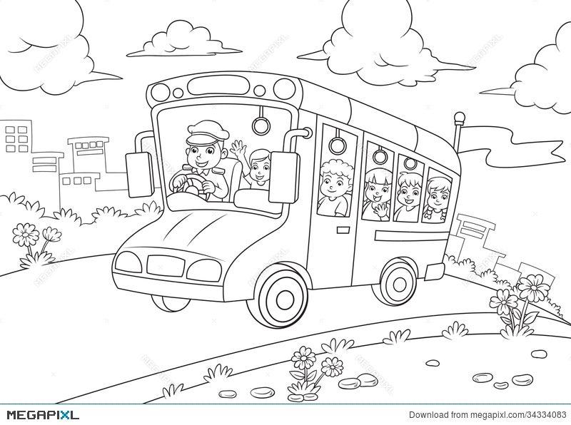 - School Bus Outline For Coloring Book Illustration 34334083 - Megapixl