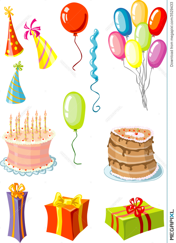 party stuff cake pie hats balloons gifts illustration 3529433
