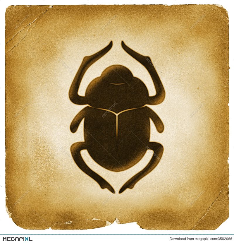 Scarab Beetle Egyptian Symbol Old Paper Illustration 3582066 Megapixl