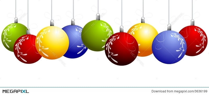 Row Of Hanging Christmas Ornaments Border Illustration 3636199