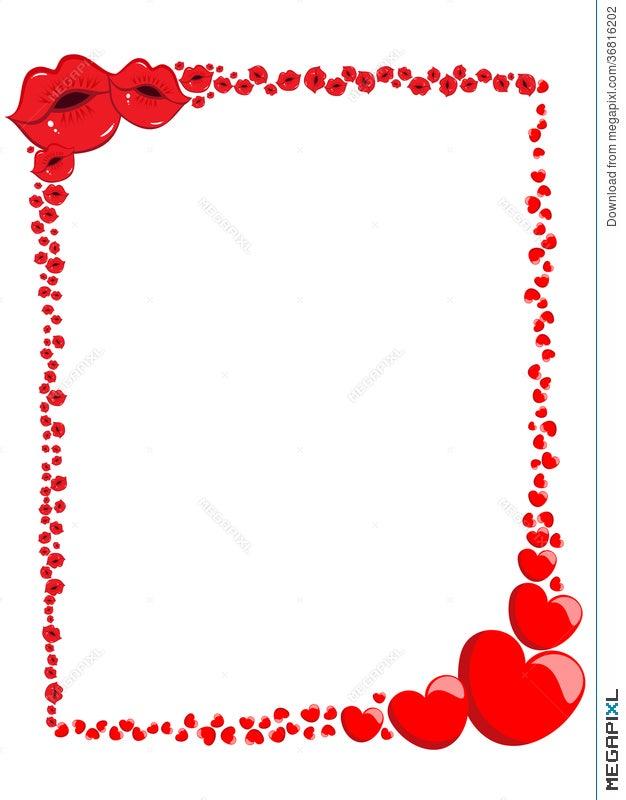 Decorative Valentine Love Frame Or Border Illustration 36816202 ...