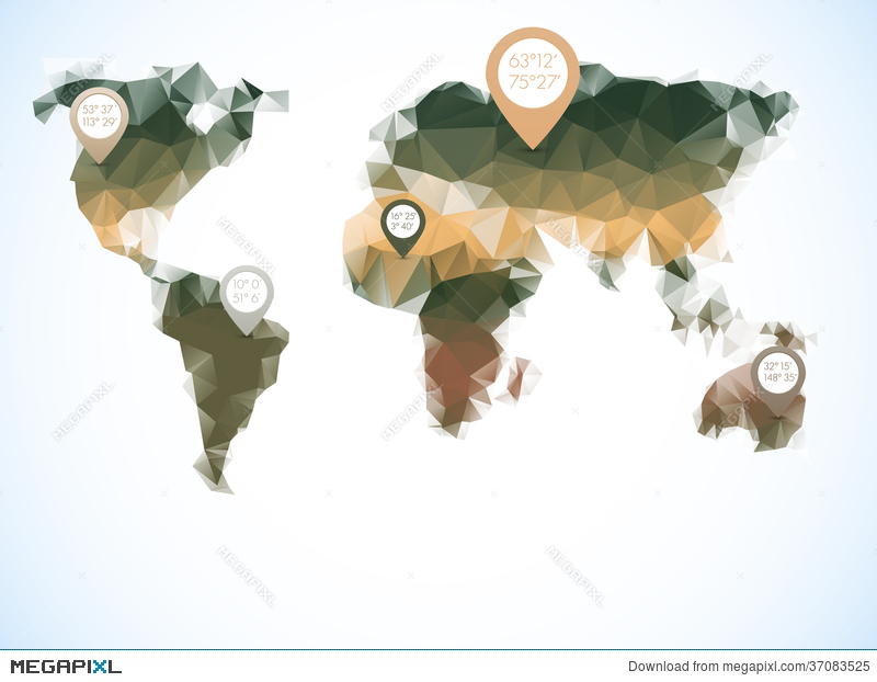World map in polygonal style illustration 37083525 megapixl world map in polygonal style gumiabroncs Choice Image