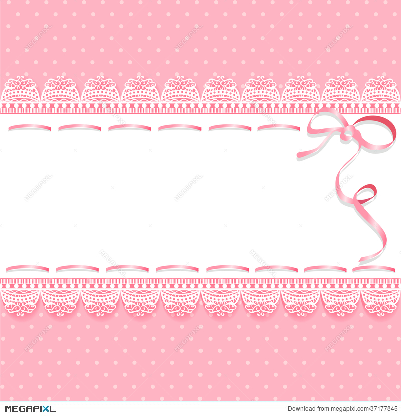 Vintage Lace Pink Background With Ribbon