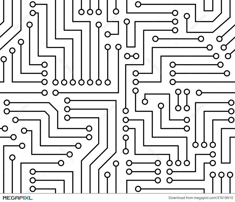 Black And White Printed Circuit Board Illustration 37419910 - Megapixl