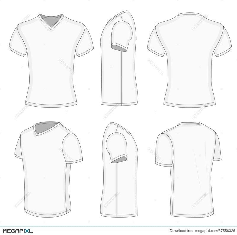 All Views Men\'s White Short Sleeve V-Neck T-Shirt. Illustration ...