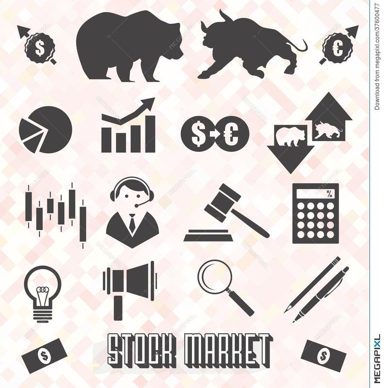 Vector Set Stock Market Icons And Symbols Illustration 37600477