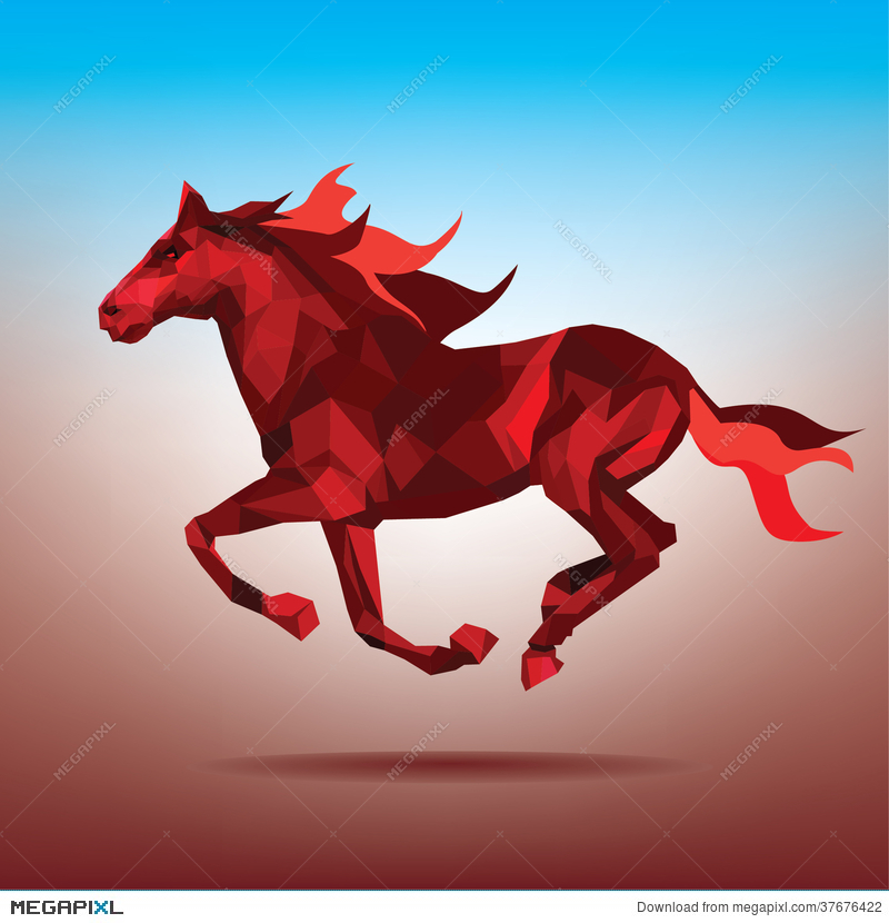 Fiery Silhouette Of A Running Horse