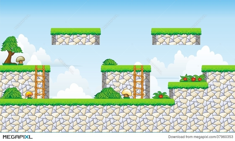 2D Tileset Platform Game Illustration 37960353 - Megapixl