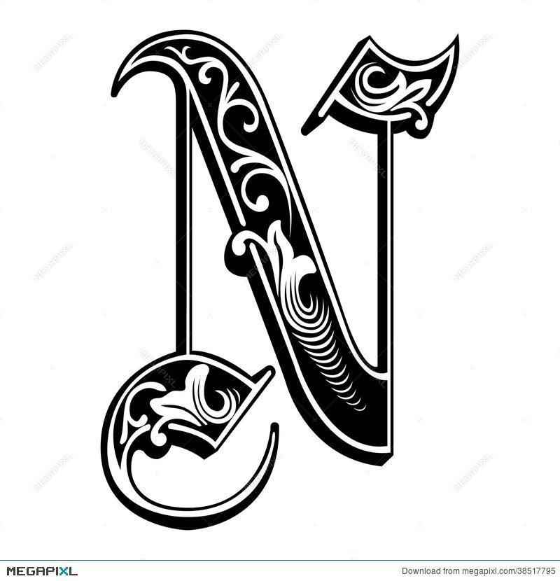Garnished Gothic Style Font Letter N