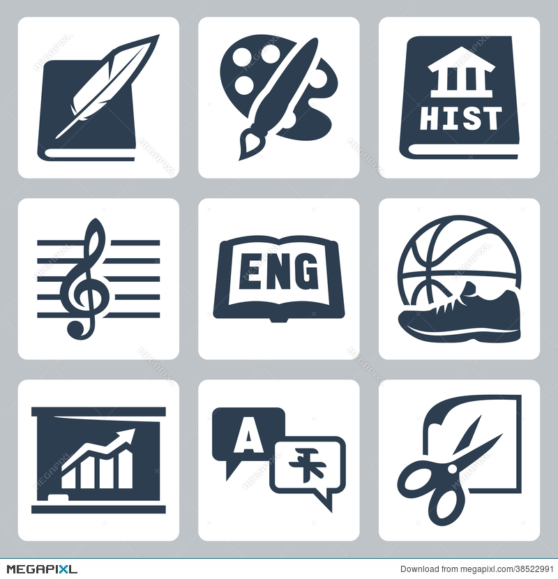 Vector School Subjects Icons Set: Literature, Art, History, Music