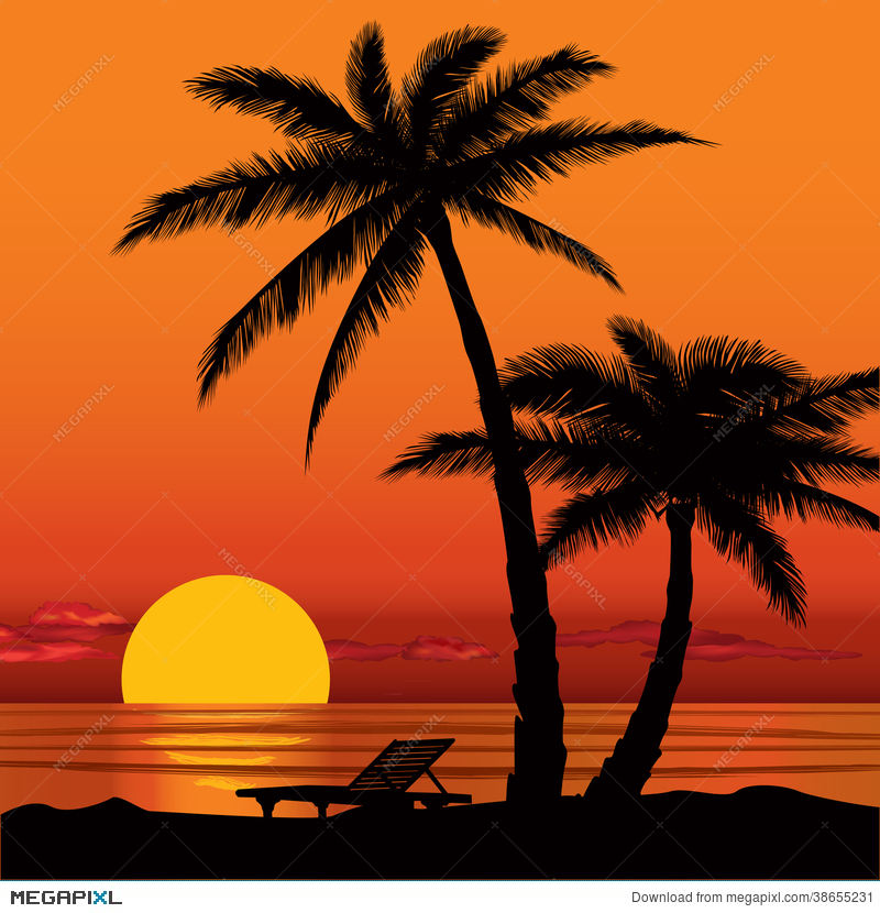 sunset view in beach with palm tree silhouette illustration 38655231