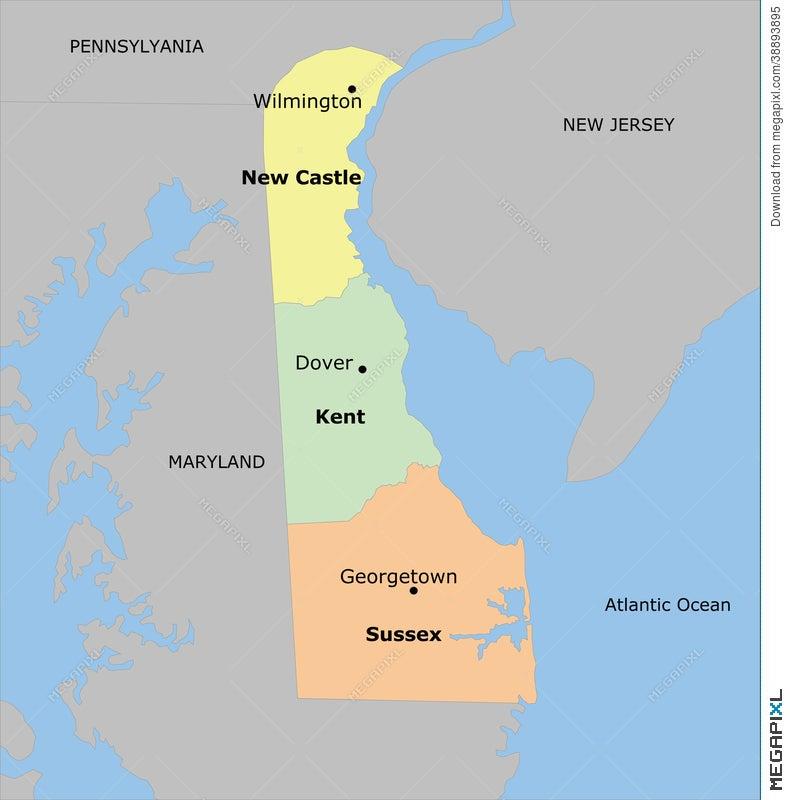 Delaware County Map Illustration 38893895 - Megapixl on