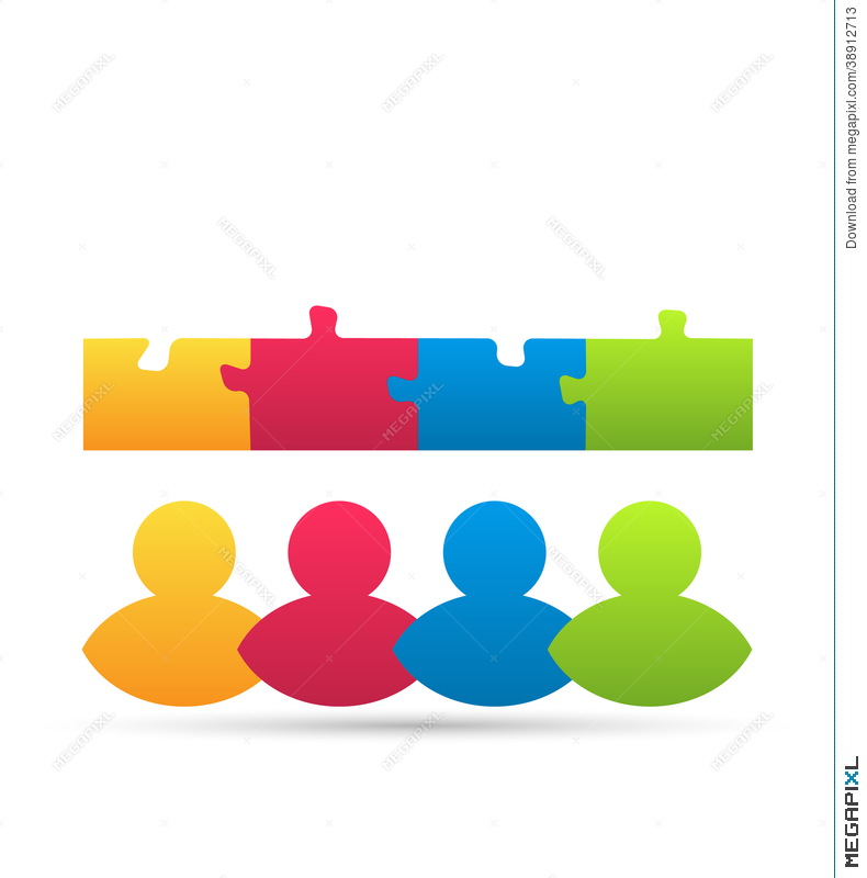 Icon Team Of Business People With Jigsaw Puzzle Illustration