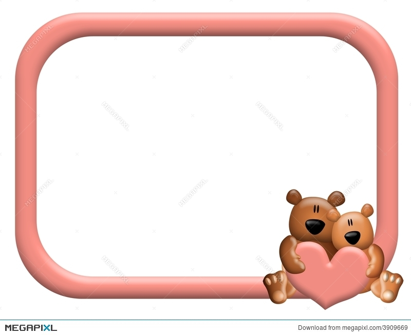 Teddy Bear Hearts Frame Or Border Illustration 3909669 - Megapixl