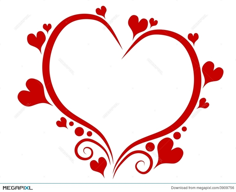 Decorative Red Valentine S Day Heart Outline Illustration 3909756