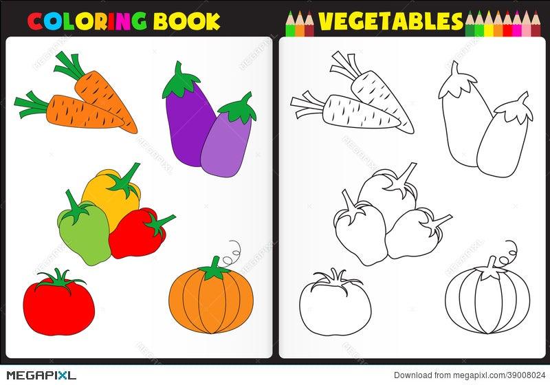 Coloring Book Vegetables Illustration 39008024