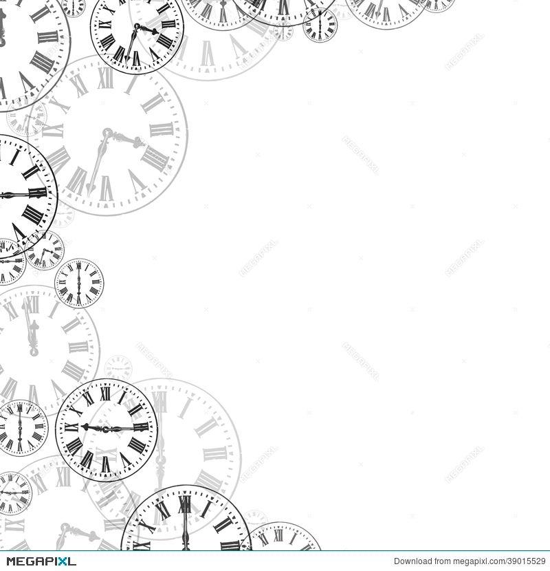 time clocks black white background border
