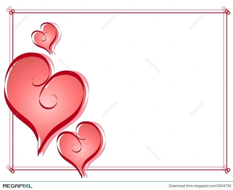 Calligraphy Valentine Hearts Frame Border Illustration 3934739 ...