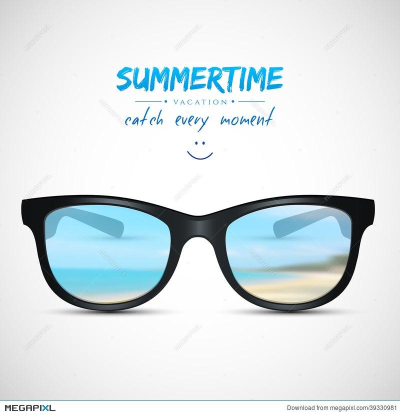 f7f8aba768 Summer Sunglasses With Beach Reflection Illustration 39330981 - Megapixl