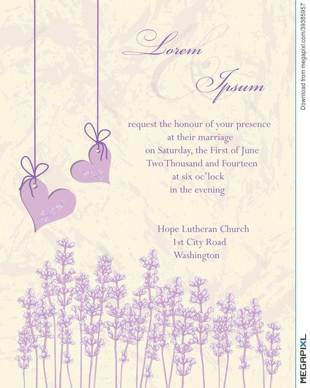 Wedding Invitation Card. Lavender Background. Illustration ...