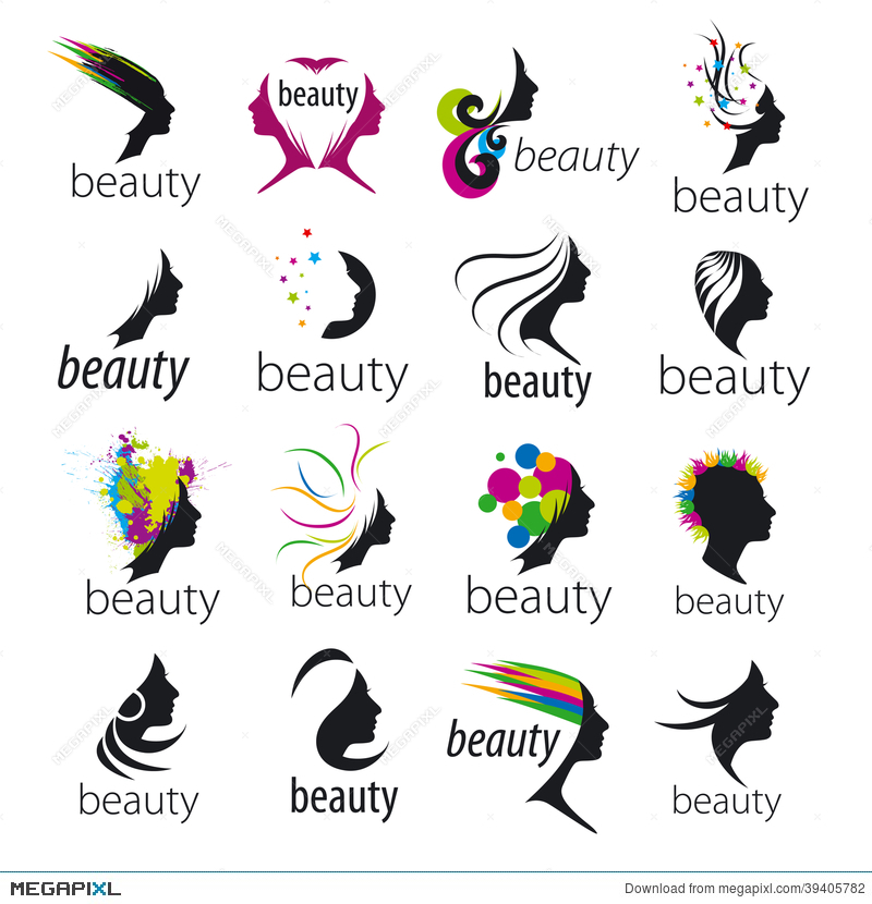 Vector Logos Beautiful Female Face Illustration 39405782 Megapixl