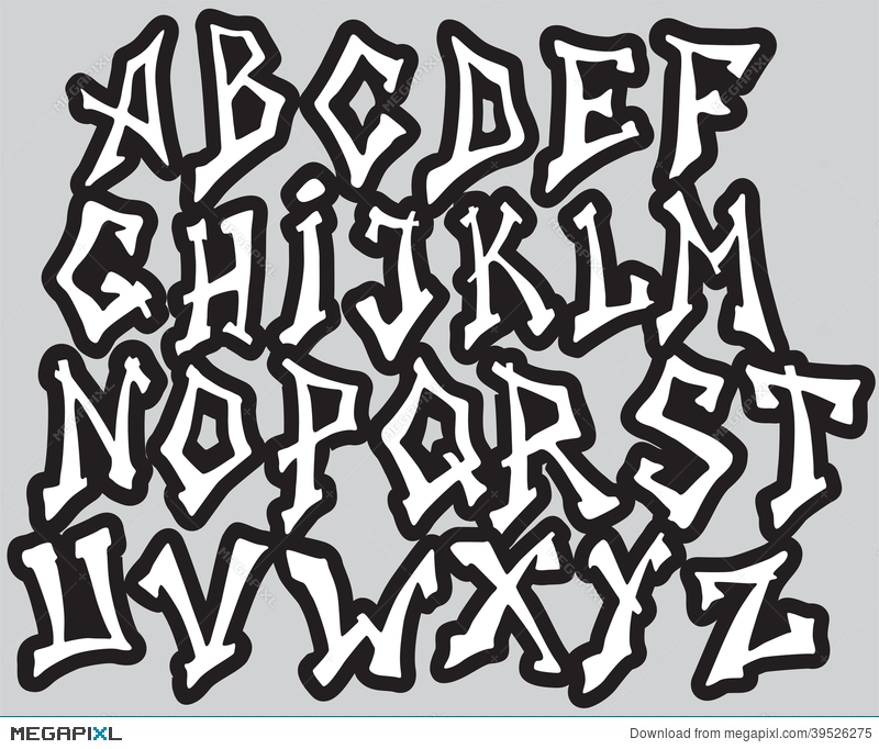 Graffiti Font Alphabet Different Letters Vector Illustration