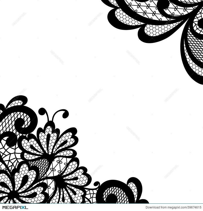 black vector lace corner illustration 39674615 megapixl rh megapixl com flower lace pattern vector free lace pattern vector illustration free
